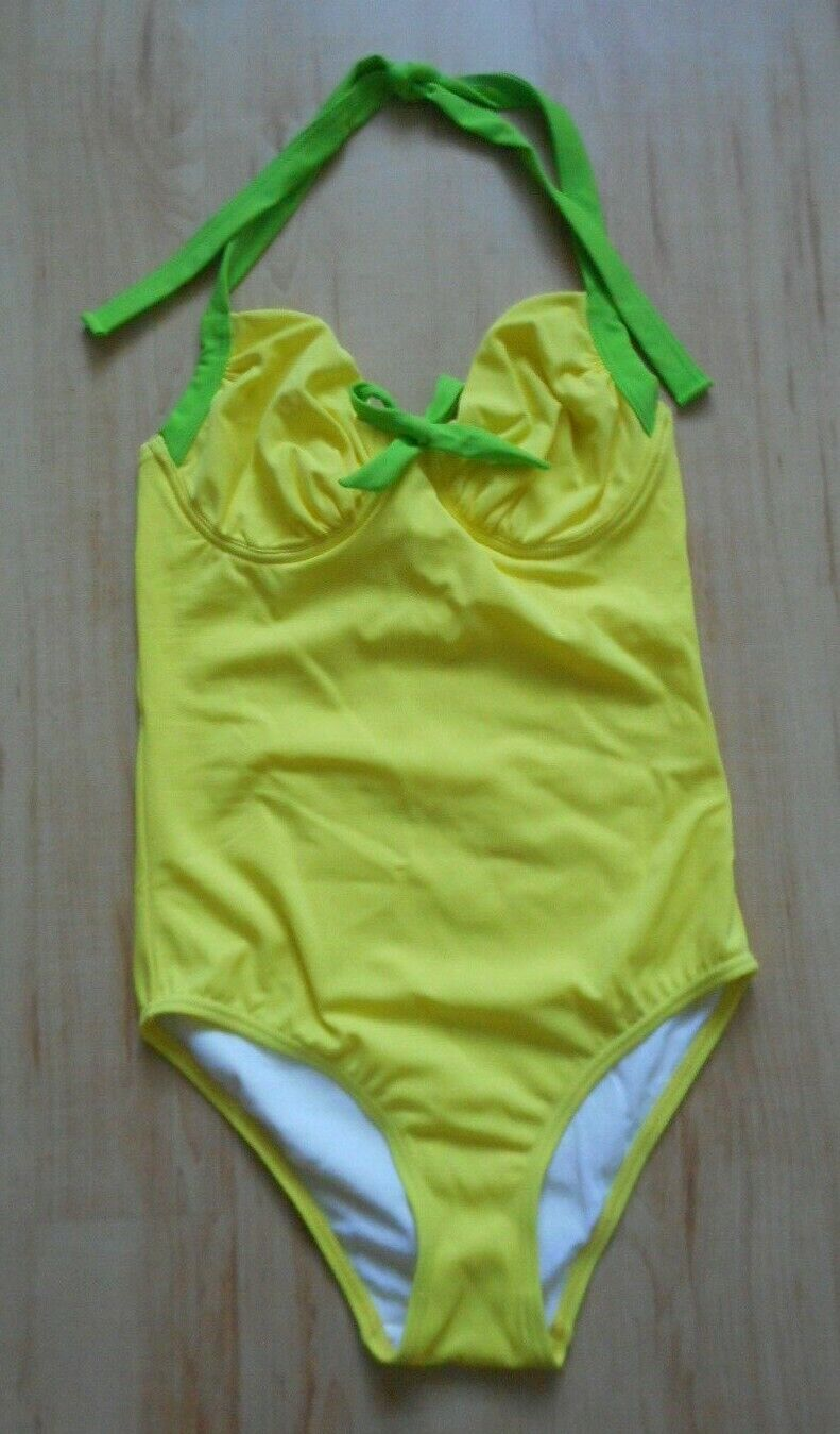 Swimsuit Yellow Green Size 34 Cup B-Heine-NEW underwired halterneck