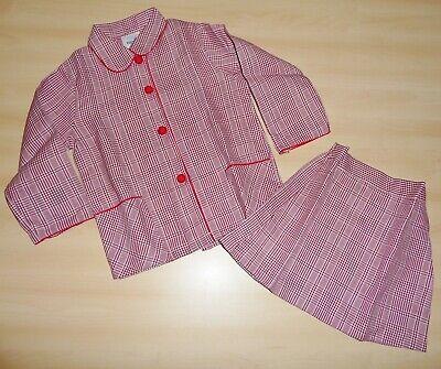 Ordinato Vintage Mai Indossata 1970s Ragazze Borgogna & Check Bianco Giacca E Gonna Set Età 4 A 8-mostra Il Titolo Originale