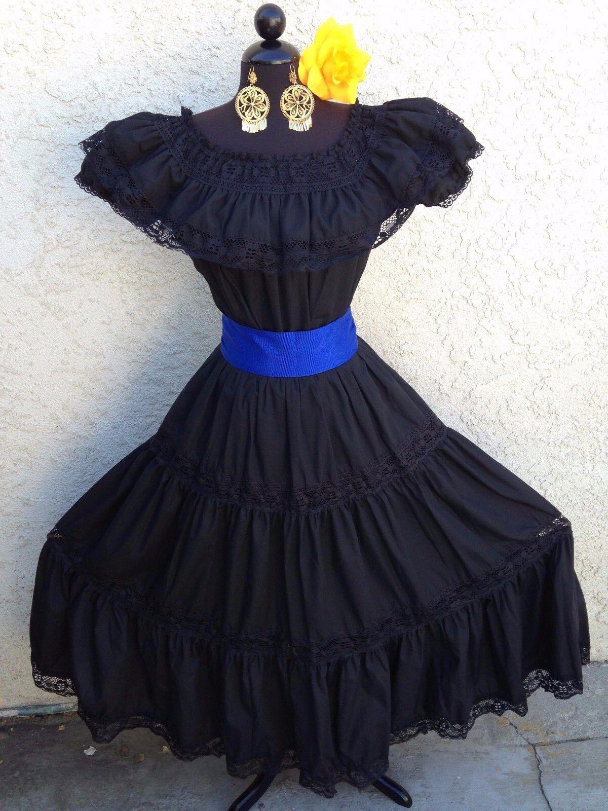MEXICAN DRESS  FIESTA,5 DE MAYO,DAY OF THE DEAD OFF SHOULDER W RUFFLE 2 PIECE