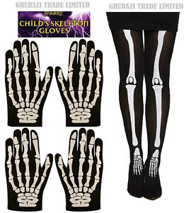 ea2c7e3f17f8f Image is loading Skeleton-Bone-Print-Gloves-And-Tights-Halloween-Adult-