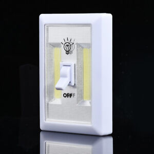 COB LED ON//OFF Wall Switch Cordless Battery Operated Closet Bed Night Light Lamp
