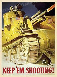 """Keep 'Em Shooting"" - 1943 WW2 US Army Tank Poster - 18x24"