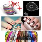 30 Pcs Mixed Colors DIY Nail Art Sticker Tips Line Roll Striping Tape Tool Decor