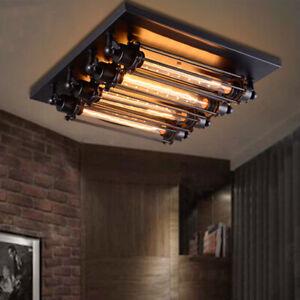 Details About Industrial Ceiling Lights Steampunk 4 Light Black Flush Mount Light Fixture