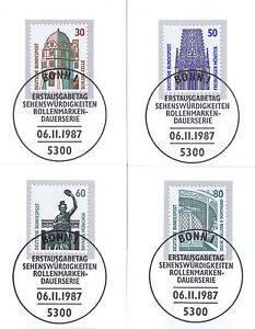 BRD-1987-Celle-Muenster-Muenchen-Dortmund-Nummer-1339-1342-Bonner-Stempel-1A