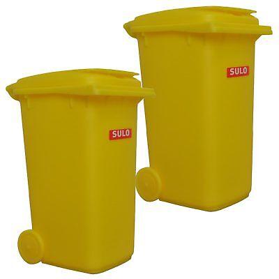 Flight Tracker 2x Sulo Mini Müllbehälter Gelb Spiel-mülltonne Tischmülleimer 240 L Stifteköcher