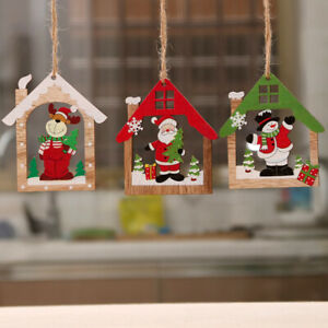 House-Shape-Santa-Claus-Snowman-Elk-Wooden-Pendants-Xmas-Tree-Ornaments-Decor