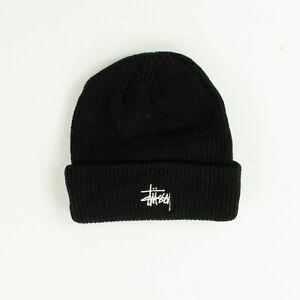 Stussy Basic Small Patch Beanie Hat Winter Brand New Black