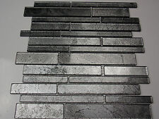Glasmosaik Effekt Mosaik Fliesen Klarglas Metall schwarz silber grau klarglas