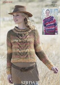 Knitting Patterns Lion Brand : SIRDAR INDIE LADIES ROLL & STAND-UP NECK SWEATERS KNITTING PATTERN - 32-4...