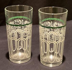 2 VINTAGE RETRO USED GLASS TUMBLER LEMONADE WATER SWAGS DRINK COCKTAIL BAR GREEN