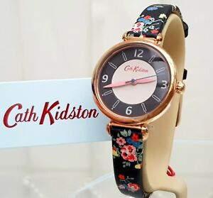 New-CATH-KIDSTON-Ladies-Watch-Black-Flowers-Strap-RRP-79-C2