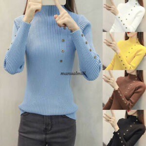 Winter-Thick-Women-Knit-Mock-Neck-Slim-Fit-Shirt-Solid-Casual-Peplum-Top-Blouse