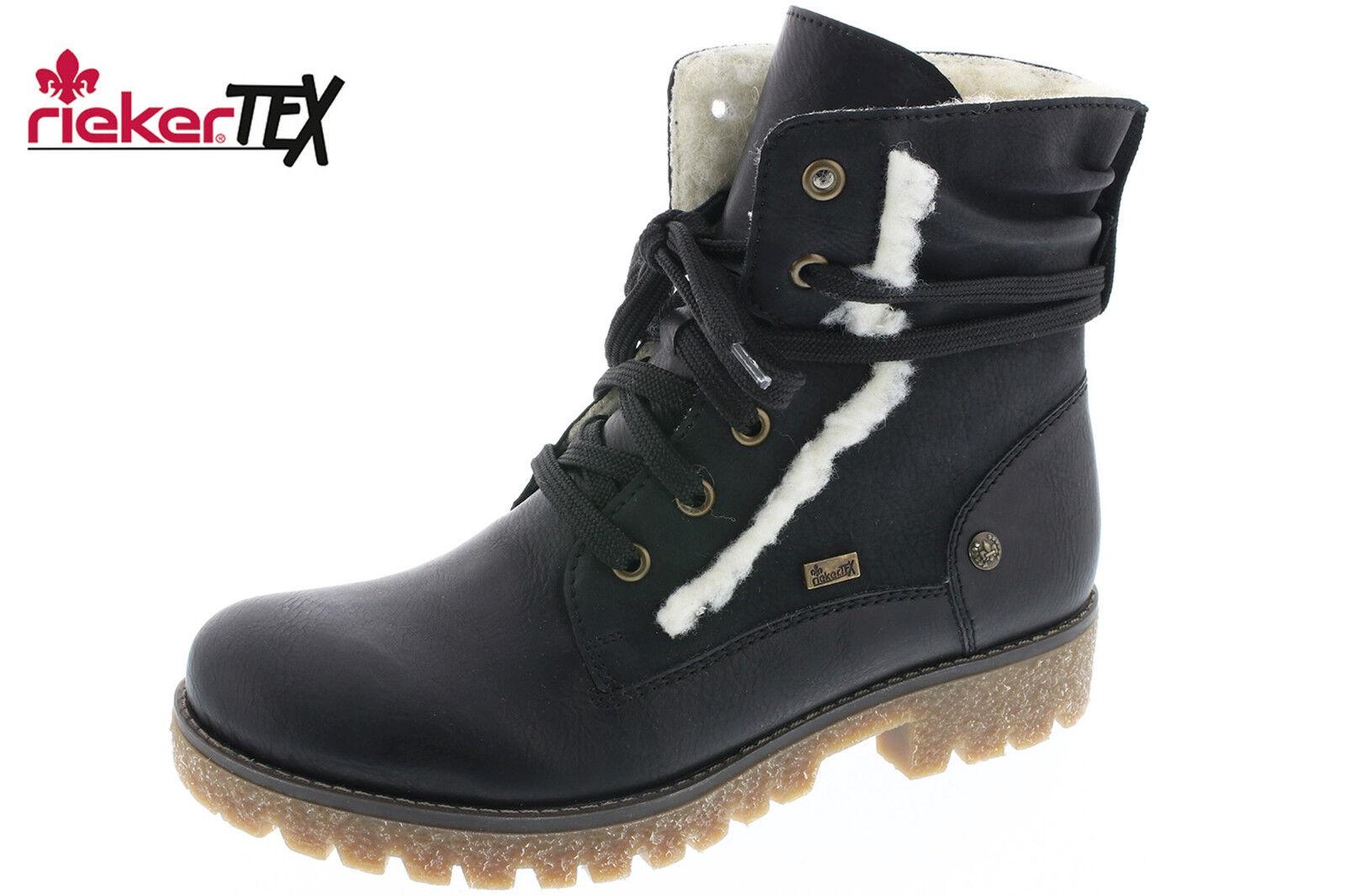 Rieker Tex Damen Winter Stiefel Schwarz Stiefel Schurwolle Schuhe 79845-00 NEU