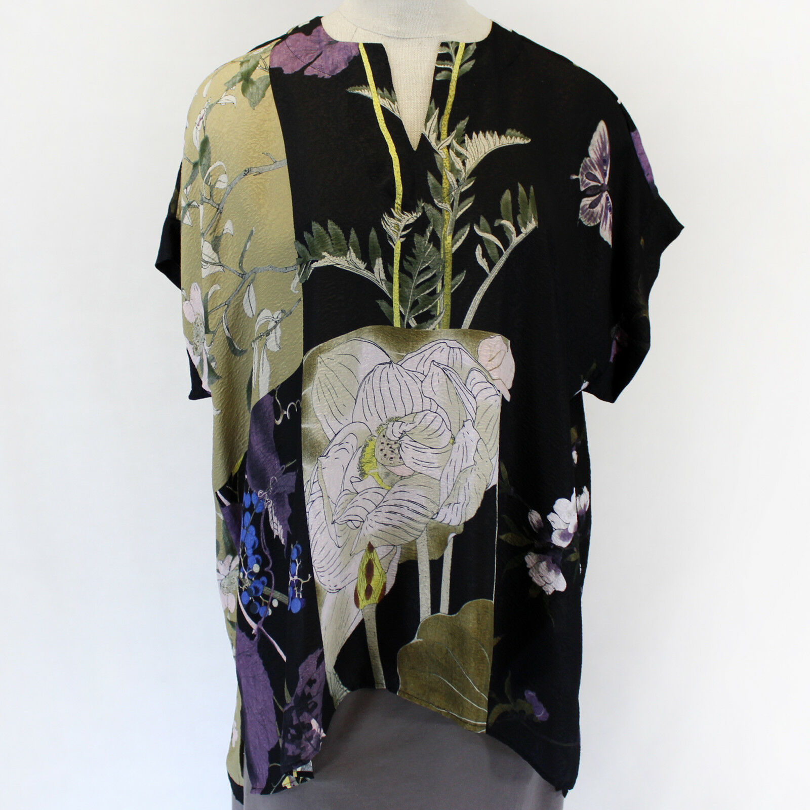 Citron Clothing Japanese Flowers Silk Butterflies Blend Tunic Blouse Plus 1X