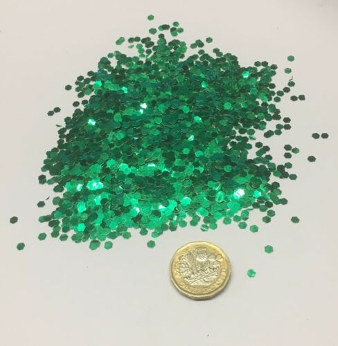 1kg Green Aluminium Glitter 125 3mm Hex Double Sided Body Walls Kilogram