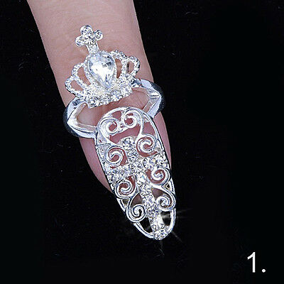 Women Unique Punk Crystal 3D Nail Art Midi Above Knuckle Band Finger Tip Ring zx