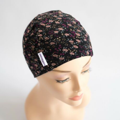 Bold Beanies Black Floral Women Quality Soft Chemo Alopecia Cancer Hair Loss Hat