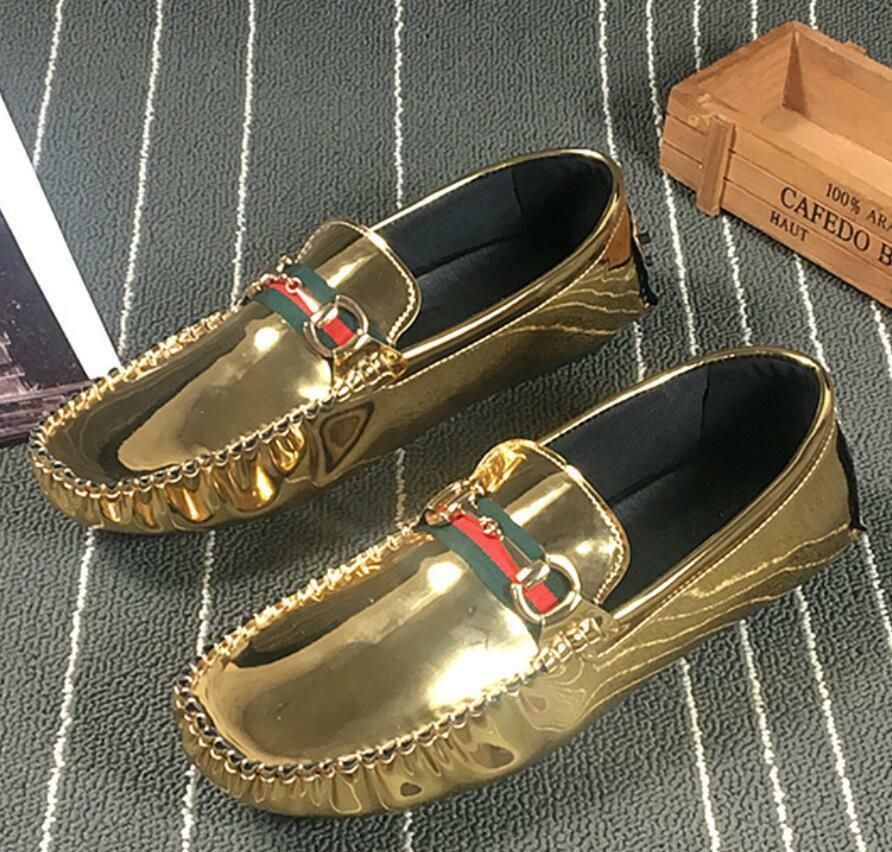 mens gold casual slip on loafers metal buckle patent leather hairdresser shoes A
