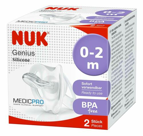 NUK Medic Natural Soothing Pro Genius Newborn Dummies 0-2 Months and 2 Count