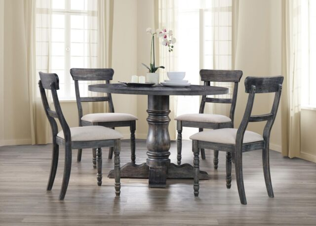 Round Dining Set Rustic Pedestal Table