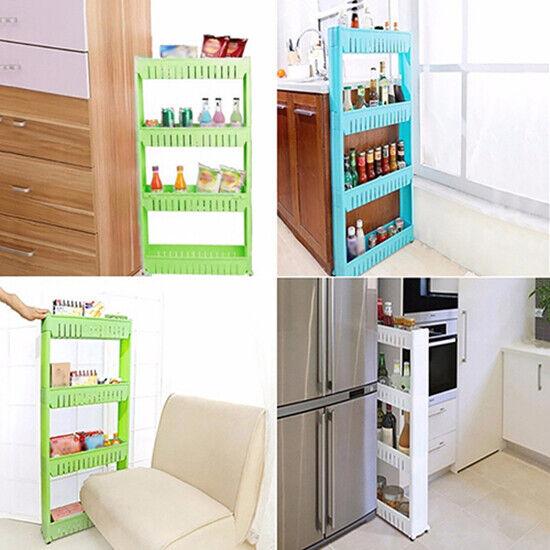 Kitchen Crevice Storage Shelf Bedroom Bathroom Organizer Movable Storage  Rack