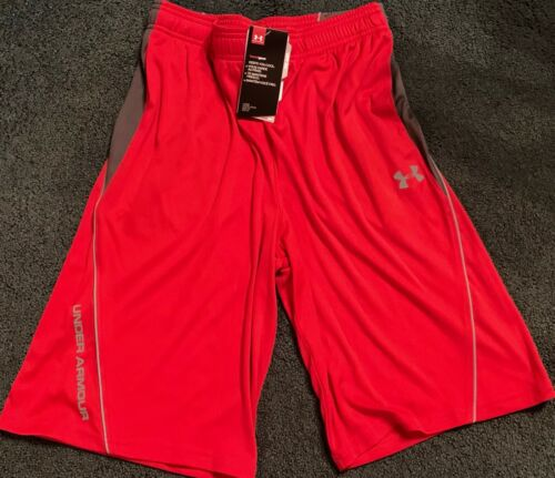 NWT Under Armour Boys XL Red//Gray Loose Fit Shorts YXL