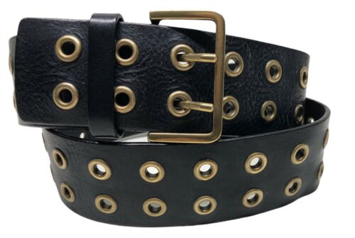 Guess Vintage Black Leather Double Brass Grommet B
