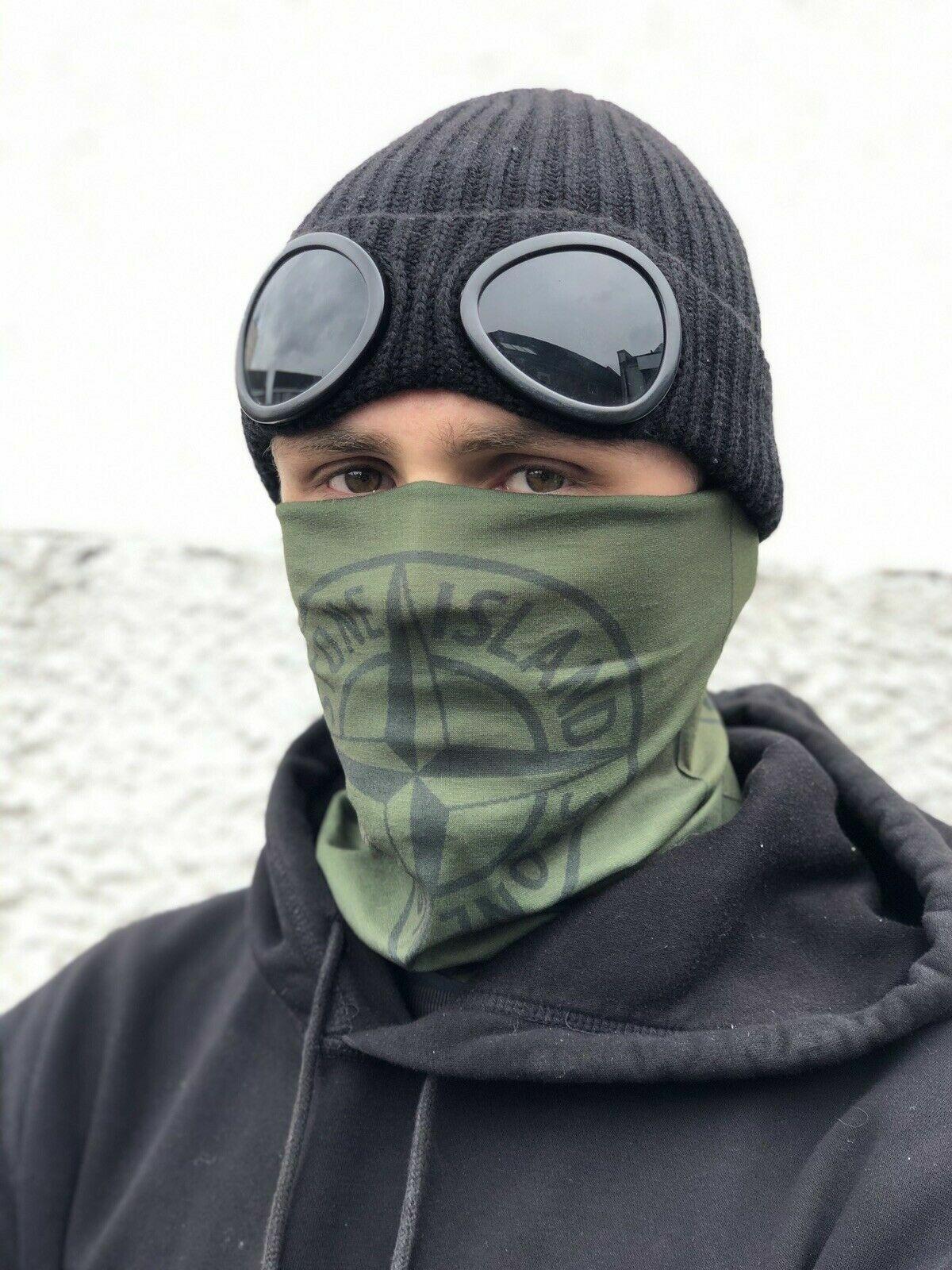 Khaki Stone Island Pattern Multi-use Balaclava Face Mask Tube Headband