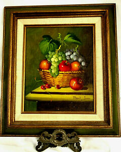 Vintage-Still-Life-by-Artist-Frank-Lean-Oil-Painting-of-Mixed-Fruit-on-Board