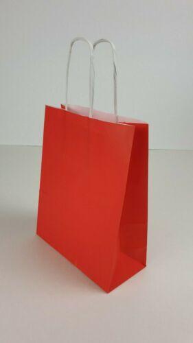 Papiertragetasche Papiertüte 18+8x22 cm m Korallrot Rot Kordel-Griff  90g