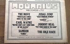 The MOVE IDLE RACE(Jeff Lynne) CARL WAYNE singles 1970 Press ADVERT 12x8 inches