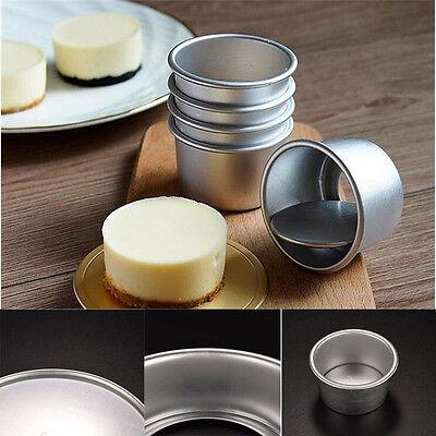 "5pcs 2"" Removable Bottom Round Cake Baking Mould Pan Tin Mold Bakeware Tray HOT"