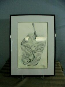 Details About Vtg 1987 Original Signed Matthew Staley Pencil Sketch Abstract Drawing 14 X 19