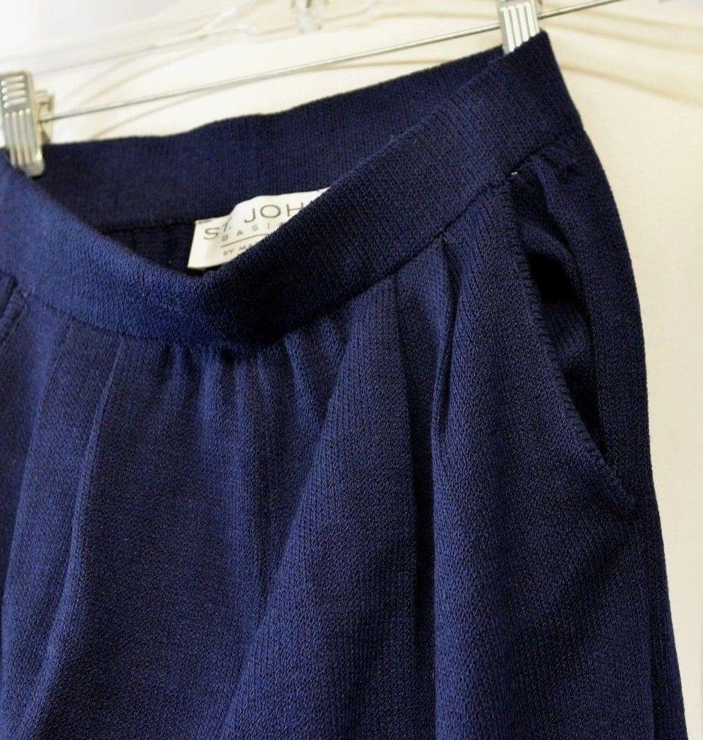 St John Basics talla 2 Plisado Pantalones Pantalones Azul Marino  Santana tejido elástico tramo nos  100% garantía genuina de contador