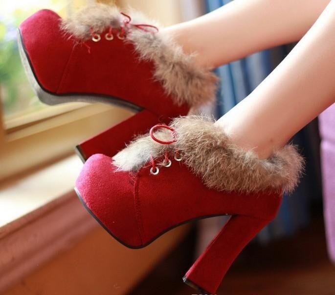 Botines botas zapatos de tacón mujer 11 cm mode como piel caldi rojo 9057