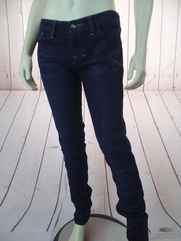 William Rast Stretch Jeans 27 Dark Wash Cotton Poly Denim Skinny Low Rise