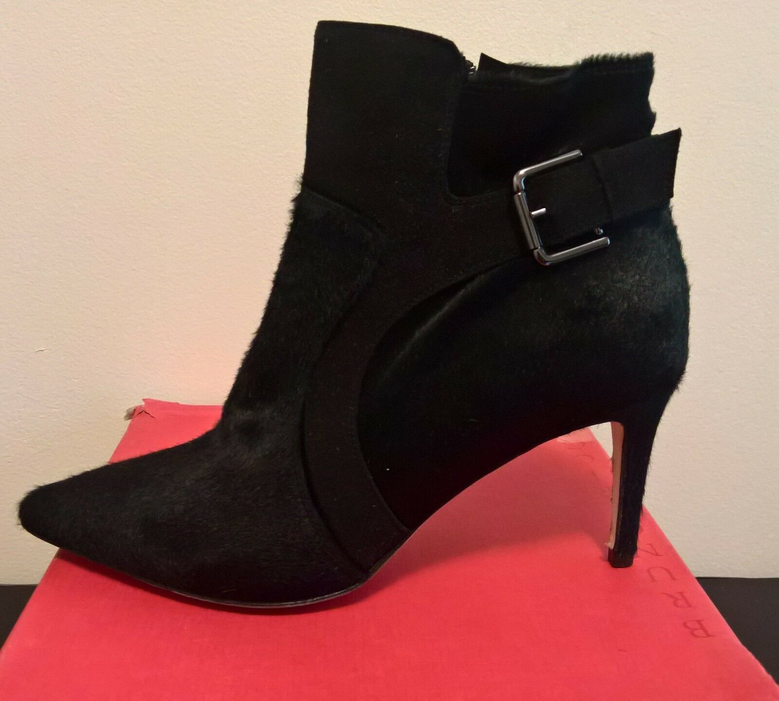 Bruno Ricci for Diane B. Milano  Black Pony Suede Buckle Ankle Boots size 39