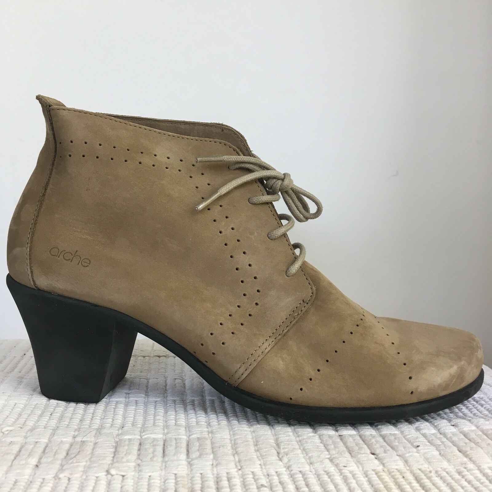 Arche EUR 40 US 9 Maorem Heeled Booties Nubuck Sand Brown Lace Up Women's NEW