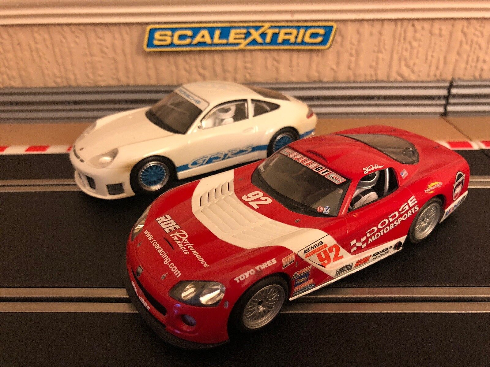 Scalextric Dodge Viper & Porsche 911 GT3R Fully Serviced & New Braids Fitted
