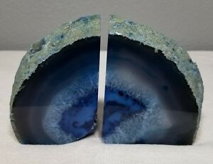 Brazilian-Geode-Polished-Agate-Quartz-Crystal-Bookends-Pair-2lbs-9oz-Blue