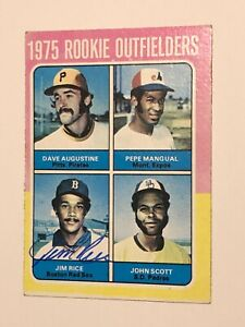 Jim Rice Signed 1975 Topps Card #616 COA HOF 2009 RC Rookie Boston Red Sox MVP