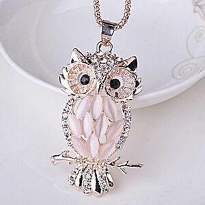 Cute-Womens-Jewelry-Crystal-Rhinestone-Owl-Pendant-Necklace-Sweater-Chain