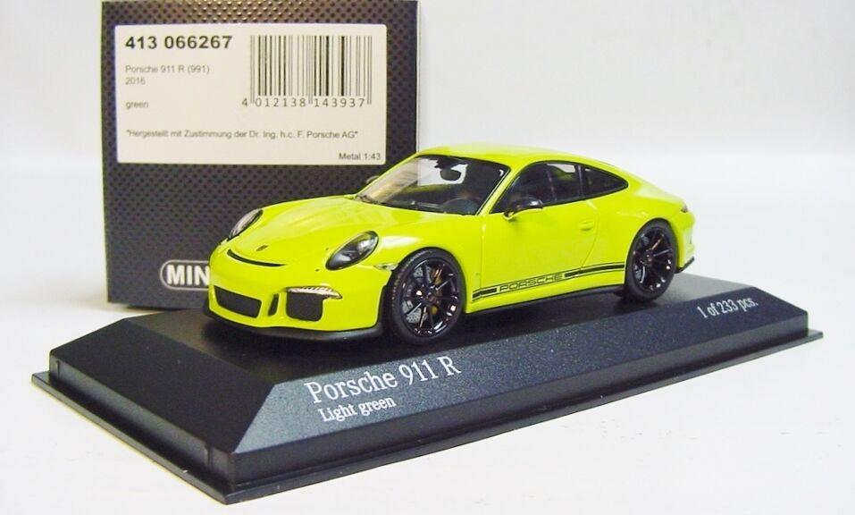 1 43 Minichamps Porsche 2016 911R 991 II  presque réel  VERT CLAIR Limited Edition 233 pcs.