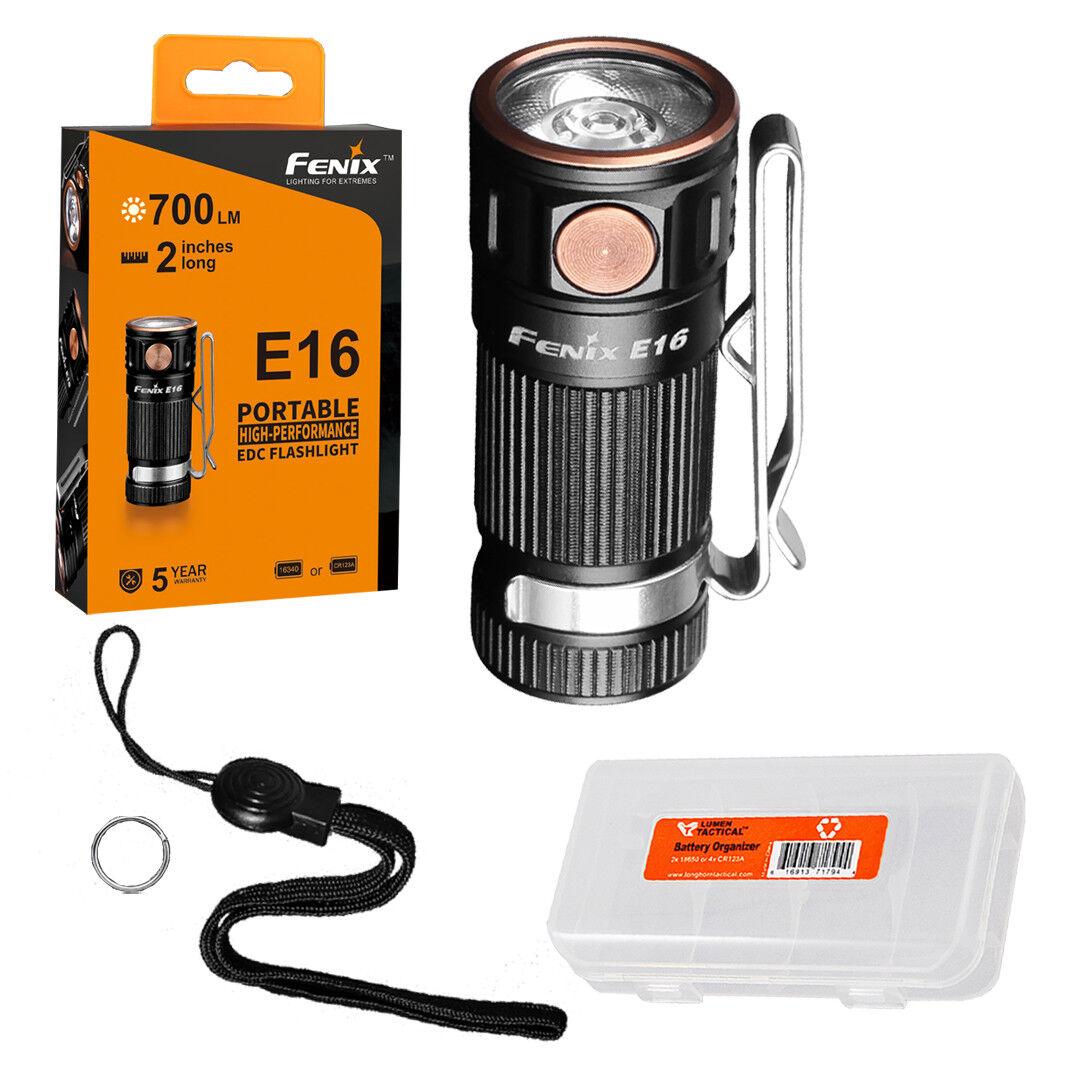 Fenix E16 700 Lumen High Performance EDC Keychain Flashlight & Battery Organizer