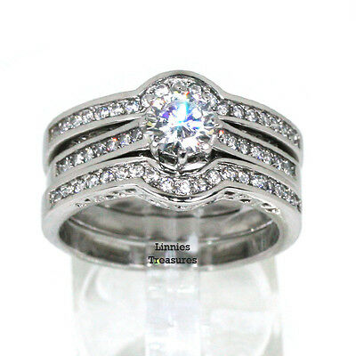 Engagement Vintage 3 Ring Set 1.62 CTW CZ 316 Stainless Steel