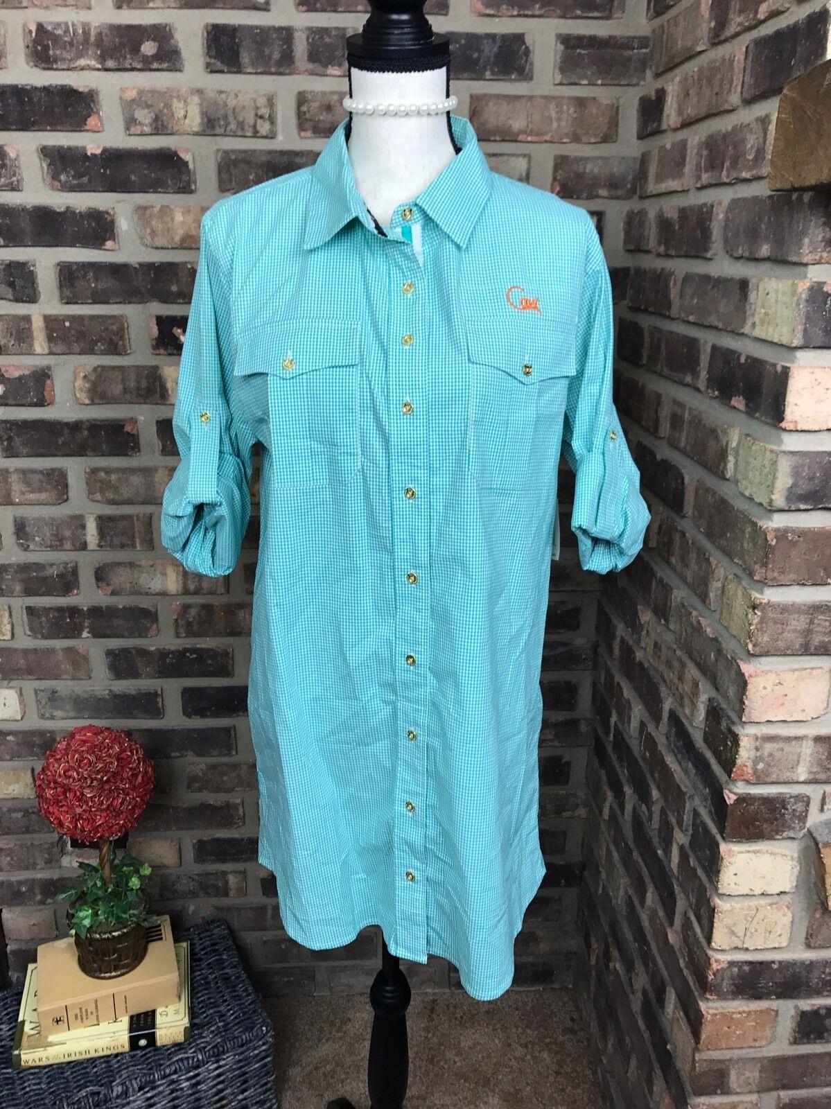 CAVI Womens Size Medium Plaid Green Button Down Shirt Dress NWT   88.00.  AD