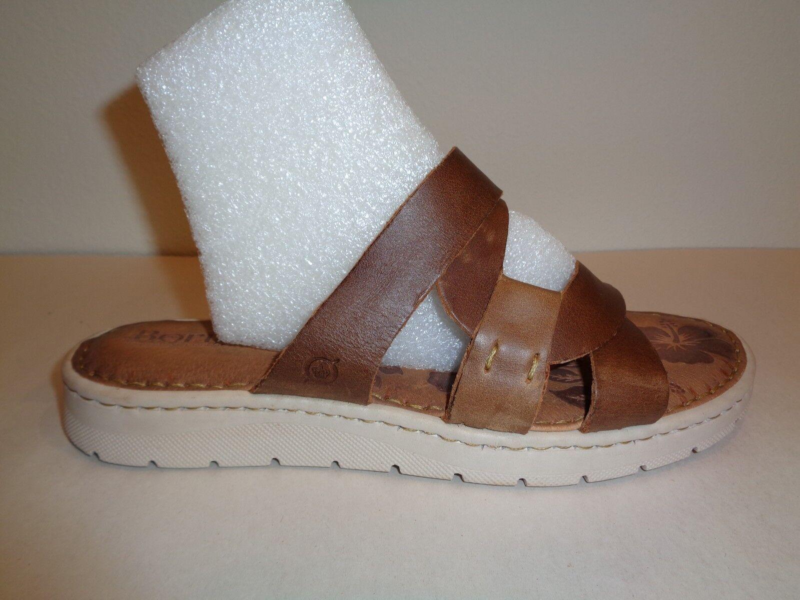 Born Dimensione 9 M M M BIRA Tan Marronee Full Grain Leather Slides Sandals New donna scarpe 0dfa0a