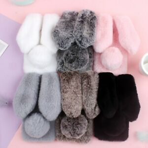 Cute-Rabbit-Fluffy-Fur-TPU-Phone-Case-Cover-For-Samsung-Galaxy-S10-S9Plus-Note10