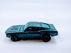 1968 Hot Wheels Redline Custom Mustang Ice Blue? White Interior Unrestored